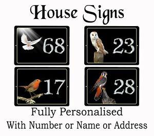 RECTANGLE Bird  plaques for House / Caravan / Flat / Door PERSONALISED FREE