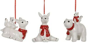 Whimsical Red and White Deer Bear and Squirrels Holiday Ornaments Set of 3