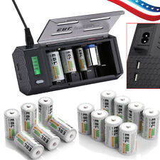 Lot EBL C D Size Cell Ni-MH Rechargeable Batteries  /Charger + Case US