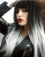 Ombre Grey Synthetic Long Straight Wigs Hair Middle Part Bangs Cosplay Gradient