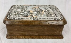 Antique solid silver & wooden oak jewellery / trinket box