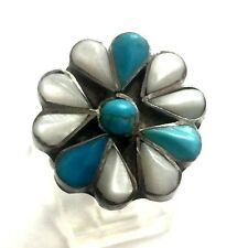 Native American S/S Mother of Pearl & Turquoise Cobblestone Flower Ring