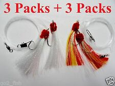 6 Packs 5/0 Shrimp Fly Rigs 3 White & 3 Red/Yellow Rock Fishing Lures