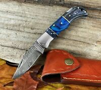 Damascus Steel Folding Knife With Stainless Steel Wood Handle + Leather Sheath