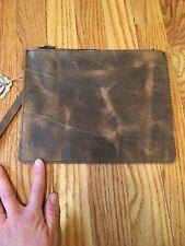 Genuine Leather Clutch Brown Zip Closure