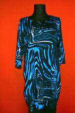 OPHILIA: elegantes Kleid schwarz, Blautöne, weiss Rücken schwarz Gr. 6 (52 - 54)