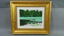 "Original Acrylic on Canvas Painting Paul Shaub Ice Pond In Summer 13.5x11.5"""