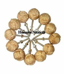 Lot Of 12 Knotty Door knobs - Nautical Drawer pulls - Jute Rope Drawer pulls