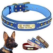 Braided Leather Personalized Dog Collar Customized Name Tag for Medium Large Dog