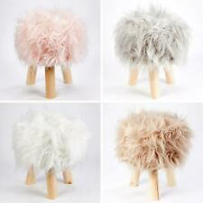 Mongolian Fur Footstools Faux Mohair Foot Stools Fluffy Round Bedroom Rest Stool