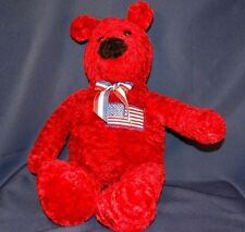 "Red Bear American Flag 16"" Plush Stuffed Animal Lovey Toy"