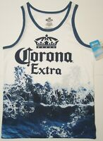 Corona Extra Shirt ~ Small 34 / 36 Beer Logo Blue Wave on White with Crown