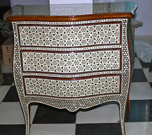 """Egyptian Inlaid Mother of Pearl Wooden Dresser 3 Drawer 32""""X14""""X36"""" (from Egypt)"""