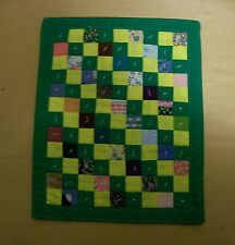 AF0040 HANDMADE MINI ART QUILT #16 wall ART fabric 1 Patch tied patchwork Green
