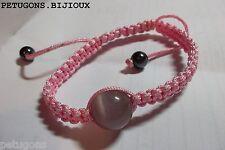 "Bracelet ""Shamballa""cordon rose&perle de verre rose+hemtite noir,tissage macramé"