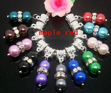30pcs mixed Pearl Rhinestone Beads Dangle Charm fit European Bracelet