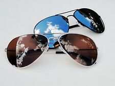 2 Pairs Mens Womens Fashion Aviator Sunglasses Black Mirror Gold Brown Top Gun
