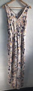 Lucky Brand Watercolor Floral Cinch Waist Deep V-neck Maxi Dress Size Medium