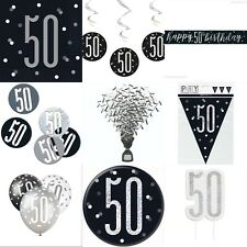 50th Birthday Black Silver,Decoration,Party,Confetti,Balloon,Banner,Flag Bunting