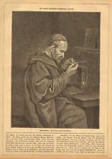 Nostradamus, Philosopher, Predicts The Future, Vintage 1880 German Antique Print