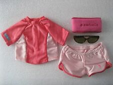 American Girl Swim Shirt & Shorts Set With Tortoise Sunglasses Brand New