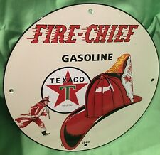 TEXACO FIRE-CHIEF 12in ROUND VINTAGE STYLE PORCELAIN PUMP PLATE