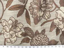 Drapery Upholstery Fabric Rustic Chenille Floral and Leaf Design - Brown / Ivory