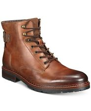 New listing Calvin Klein Mens Cronus Patent Leather Boots, MED BROWN, Size 9.0