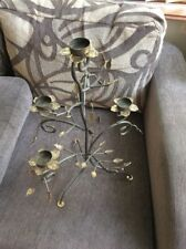 AN UNUSUAL FLOWER / PLANT TEA LIGHT CANDELABRA WITH A DISTRESSED FINISH #W/A