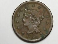 VF 1851 US Braided Hair Large Cent (Ground Find).  #1