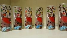 Vintage 6 Christmas Frosted Hand Painted Reindeer Drinking Glasses Tumblers