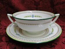 Minton Kent B1305 Blue Flower, Green: Cream Soup/Saucer Set (s)
