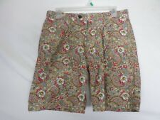 H&M L.O.G.G Womens Shorts Size 29 (30x8) Green Floral Bermuda 100% Cotton