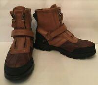 Polo Ralph Lauren Conquest HI III Mens Zip Up Leather Duck Boots Size 10D Brown