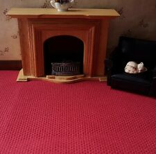 """dolls house carpet to clear deep strawberry 14""""x14"""""""