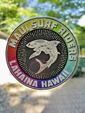 """Surfing Sticker Decal Maui Surf Riders Hawaii Surfing Vinyl 3"""" Clear Glossy"""
