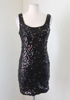 Fredrick's of Hollywood Black Sequin Beaded Cocktail Party Dress Mini Size S