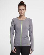 WOMENS NIKE HYPERCOOL LONG SLEEVE RUNNING TOP SIZE XS 889631 036)LIGHT GREY/VOLT
