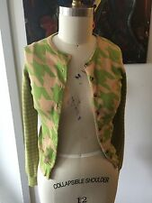 Isaac Mizrahi For Target Green And Tan Herringbone Cardigan Sweater XS
