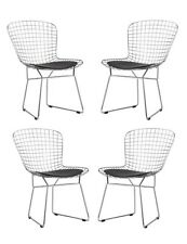 Bertoia Style Wire Chair in Black Set of 4