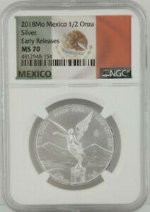 2018 1/2 oz MO Mexico Silver Libertad Early Release NGC MS 70