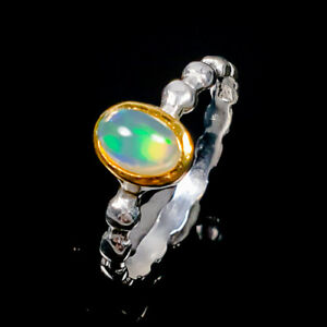 Unique Design Opal Ring Silver 925 Sterling  Size 7.5 /R173056