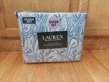 Ralph Lauren 100% Cotton QUEEN Sheet Set Floral Paisley Multi Blue NEW NIP