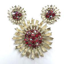 Lisner Brooch Earrings Demi Parure Red AB Rhinestones Gold Tone Flower Atomic
