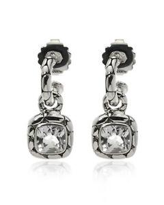 John Hardy Sterling Silver And White Topaz Kali Earrings EBS20173WT MSRP $695