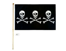 5' Wood Flag Pole Kit Wall Mount Bracket With 3x5 Pirate 3 Skulls Polyester Flag
