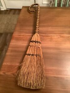 "Vintage Handmade 33"" Straw Broom Basket Curved Woven Handle Primitive"