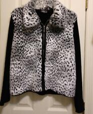 Lisa International Faux Leopard Rabbit Fur Black & White Jacket Petite Large PL