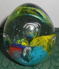 Art Glass Egg Shaped Paperweight Bubbles
