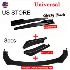 Universal Glossy Black Look Side Skirt + Rear Lip +Front Bumper Spoiler Body kit